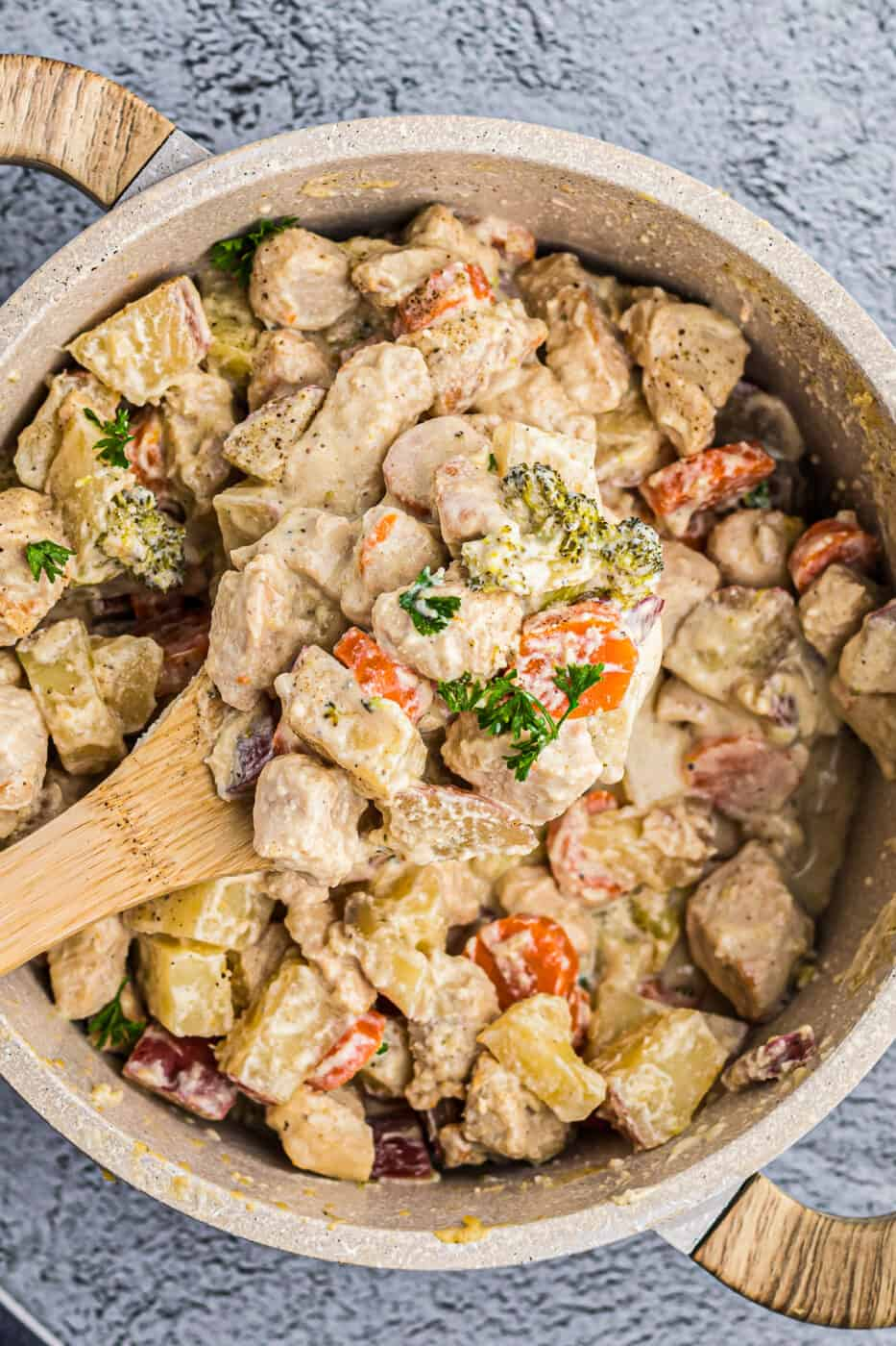 pot of creamy chicken stew with spoon