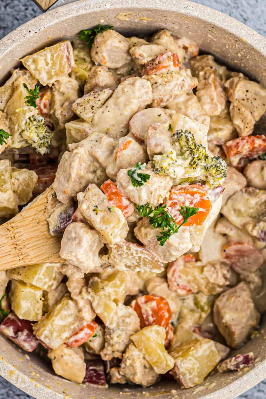 up close image of chicken stew with wooden spoon