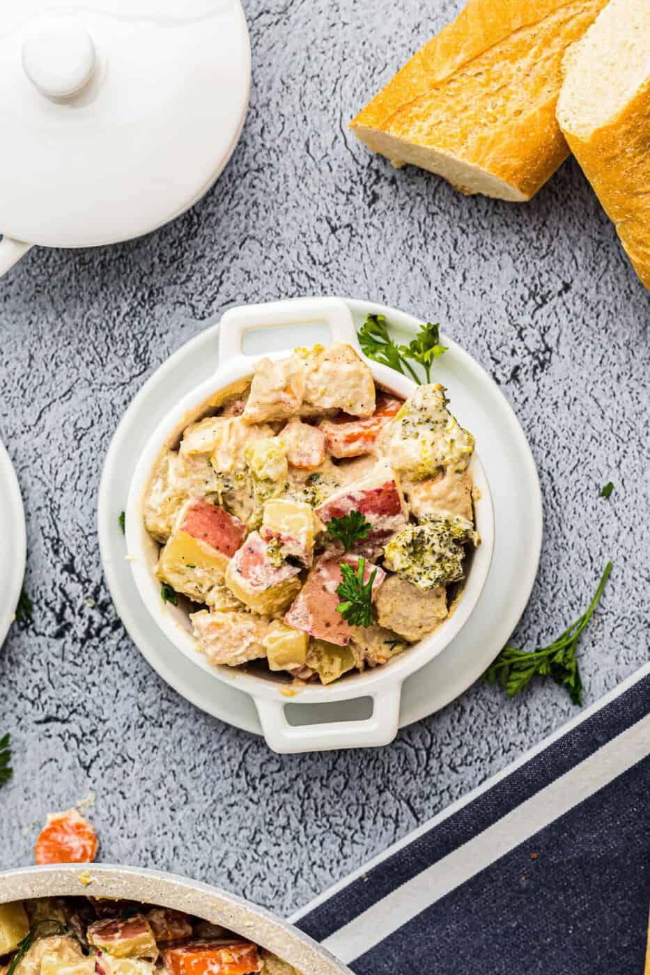 overhead image of creamy chicken stew