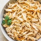 crockpot shredded chicken in bowl