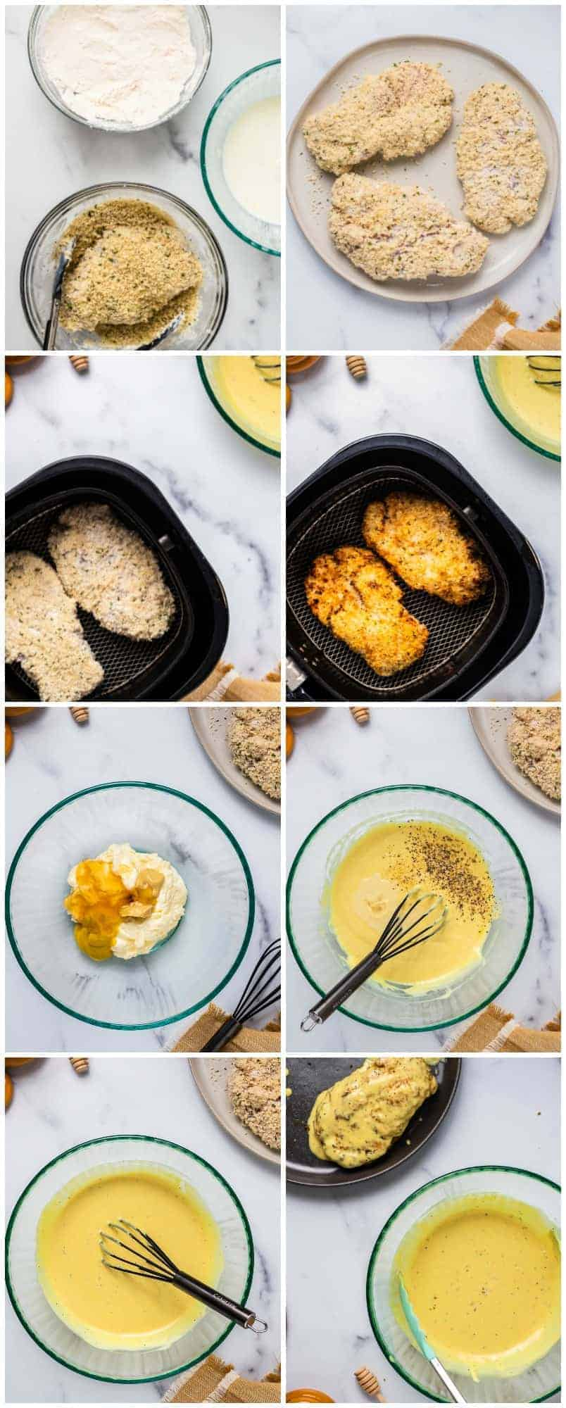 Step by step photos of how to make air fryer honey mustard chicken breast.