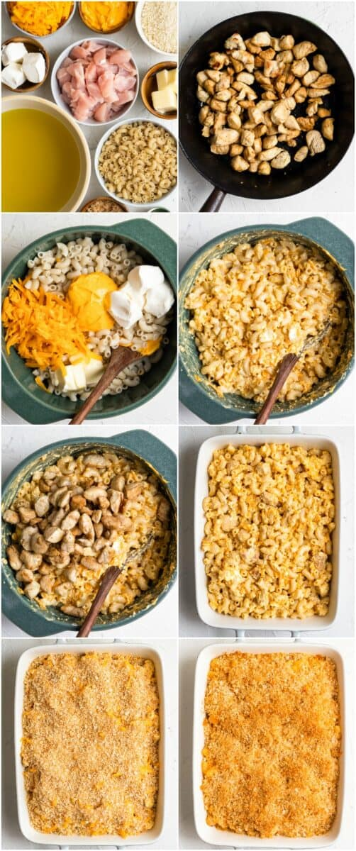 step by step photos of how to make baked chicken mac and cheese