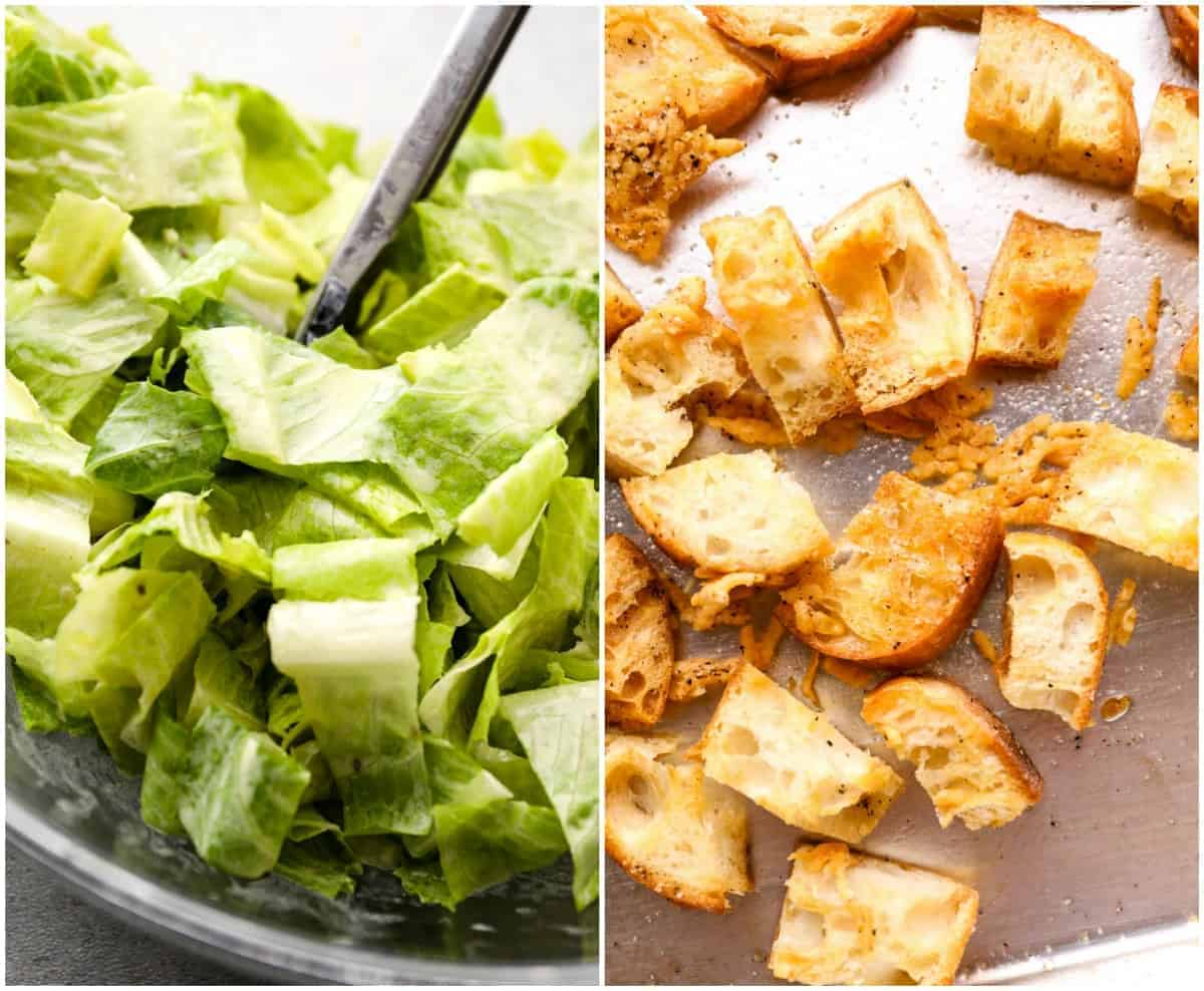 lettuce and croutons
