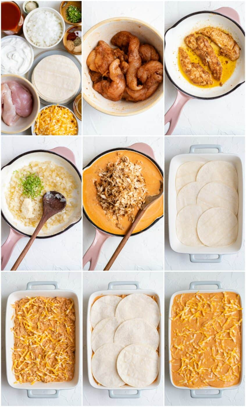 step by step photos of how to make chicken enchilada casserole
