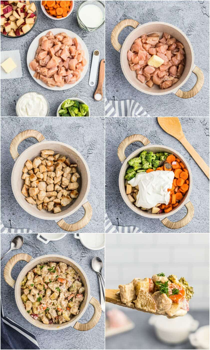 step by step photos of how to make creamy chicken stew