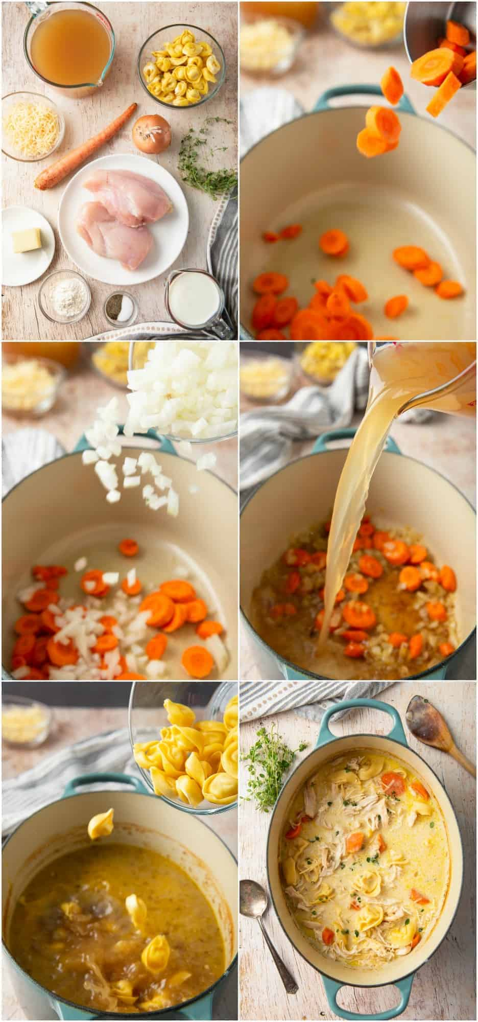 step by step photos of how to make creamy chicken tortellini soup