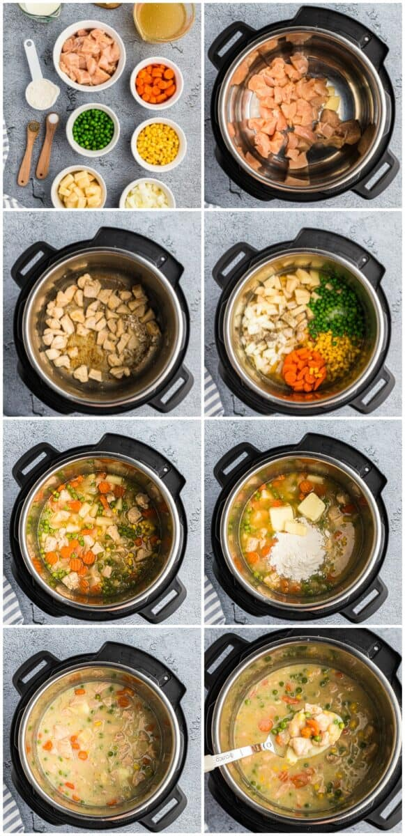 Step by step photos for how to make chicken pot pie in the instant pot.