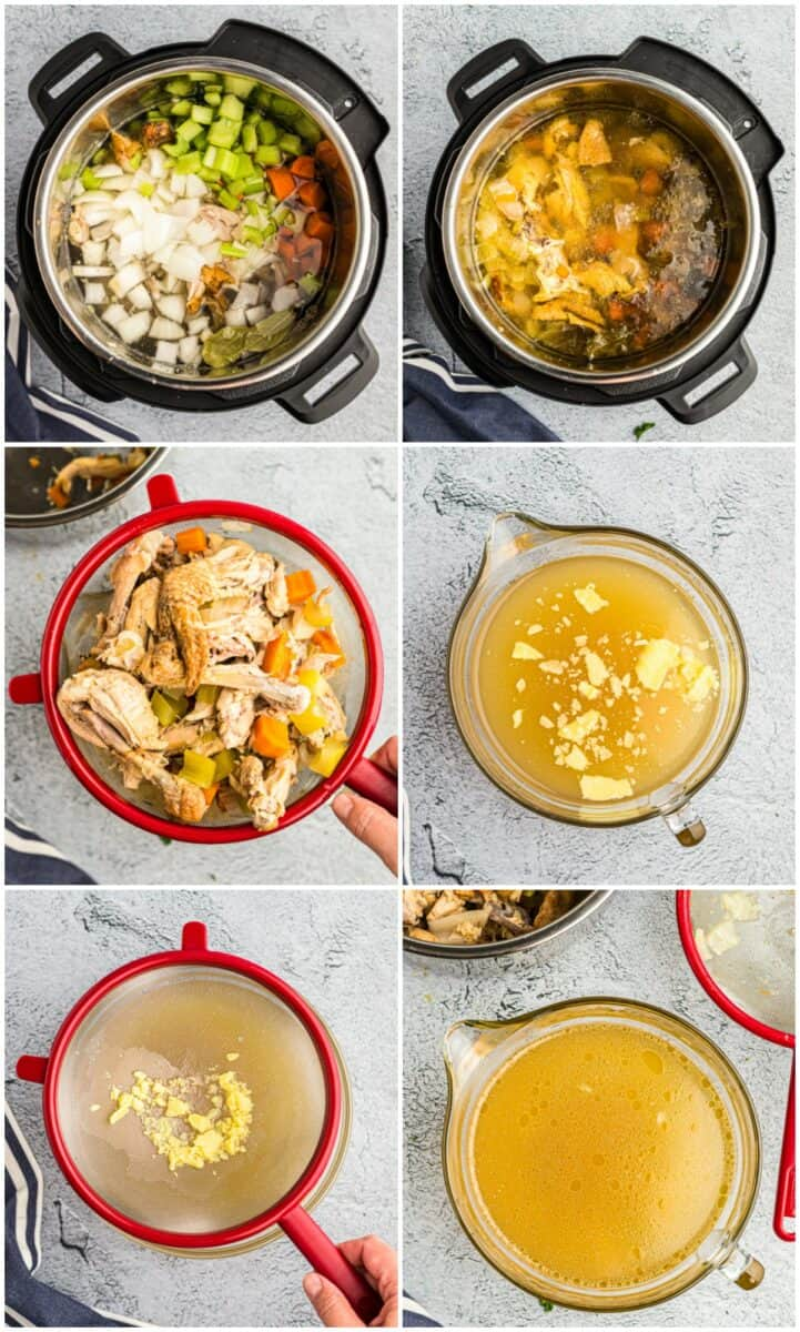 Step by step photos of how to make chicken stock.