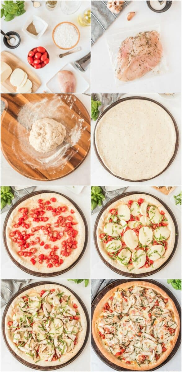 step by step photos of how to make margherita chicken pizza