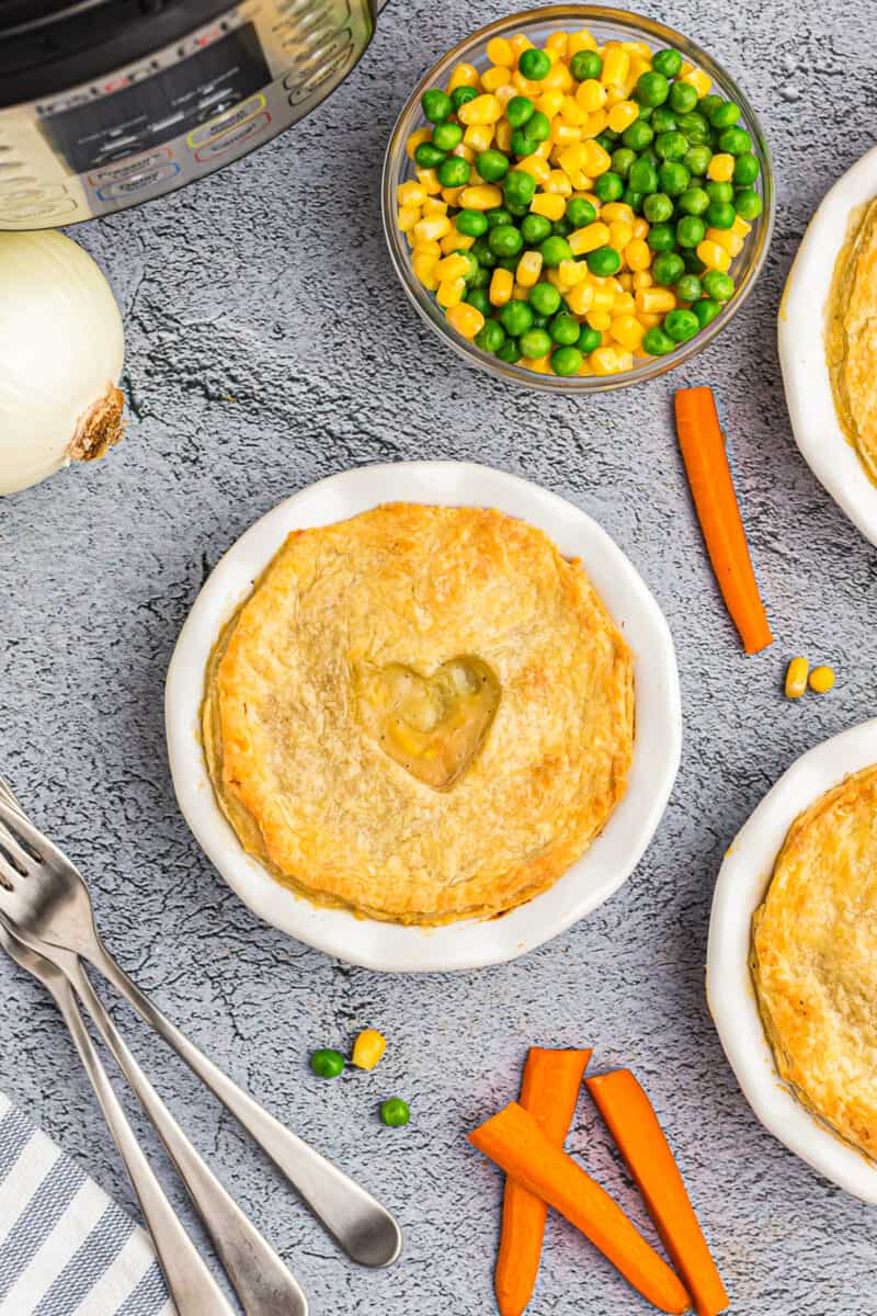 Instant pot chicken pot pie with forks.
