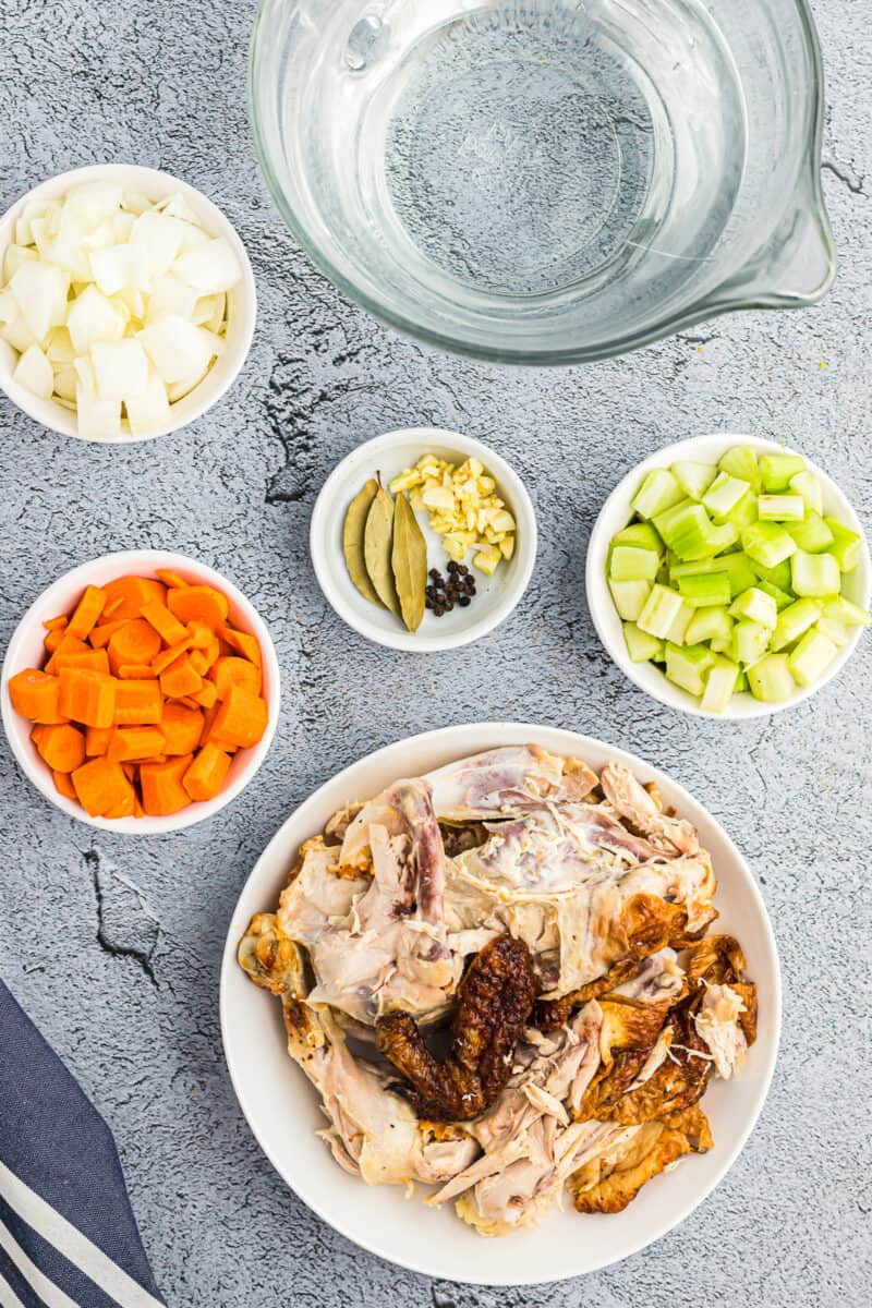 Ingredients for making instant pot chicken stock.