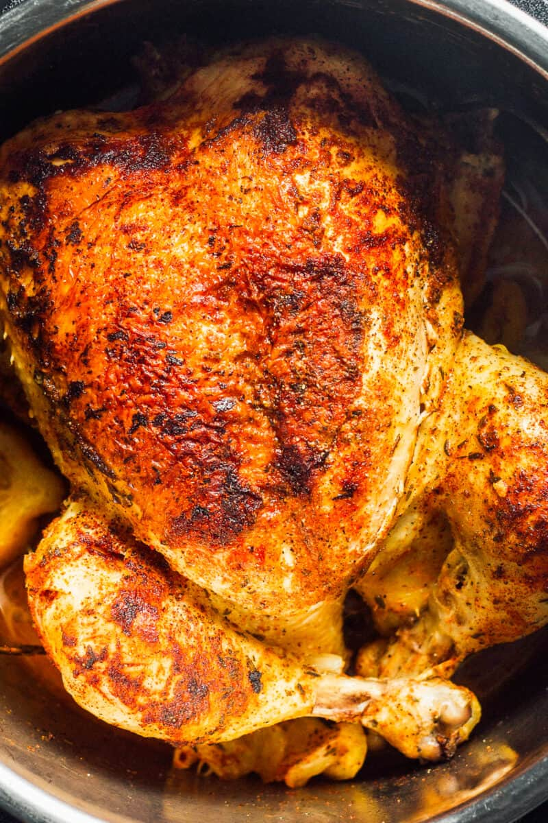 whole chicken in an instant pot seasoned