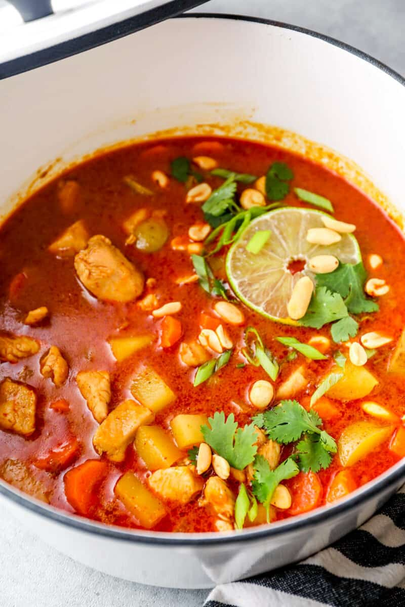 massaman chicken curry in stock pot