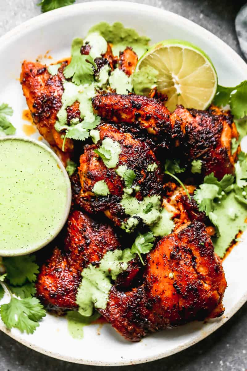 peruvian chicken with green sauce and cilantro