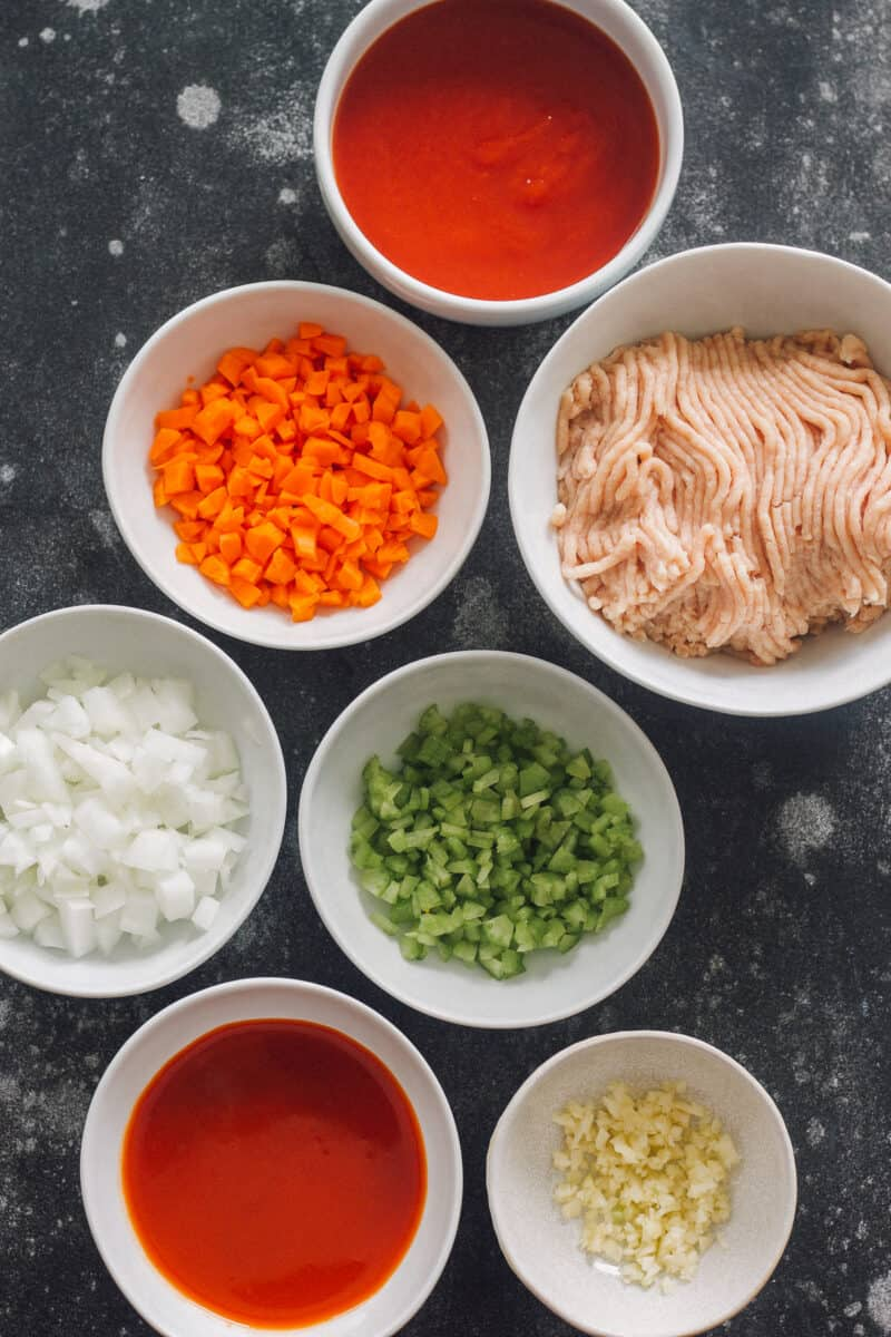 ingredients for buffalo chicken sloppy joes