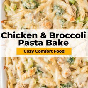 chicken and broccoli pasta bake pinterest collage