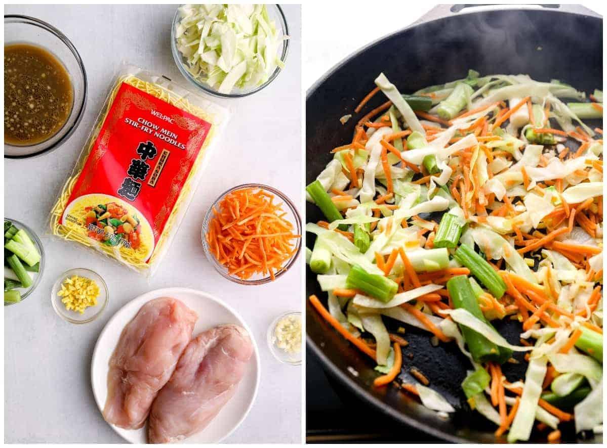 making chicken chow mein
