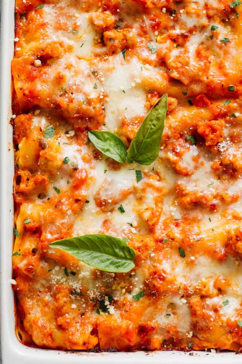up close image of chicken lasagna