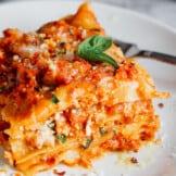 chicken lasagna on plate