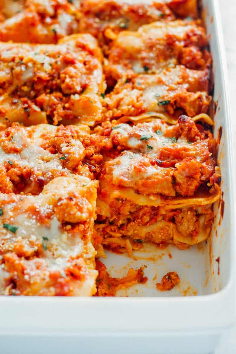 pan with chicken lasagna