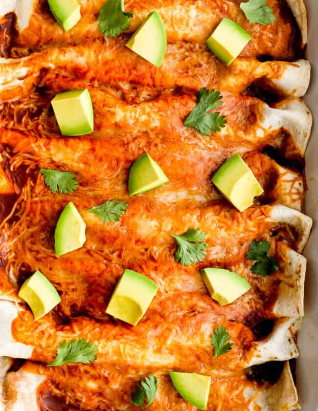 up close image of red chicken enchiladas topped with avocado
