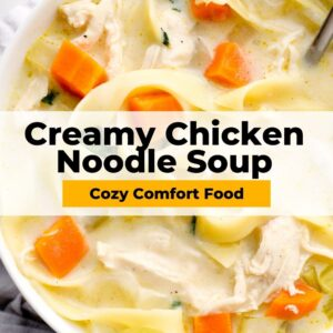 creamy chicken noodle soup pinterest collage