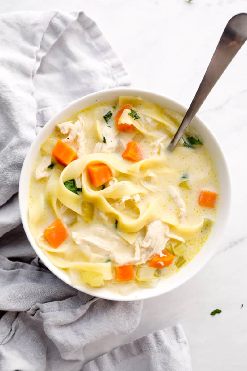 white bowl with creamy chicken noodle soup