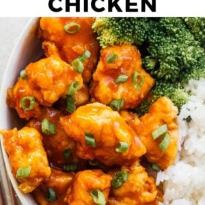 crispy orange chicken pinterest collage