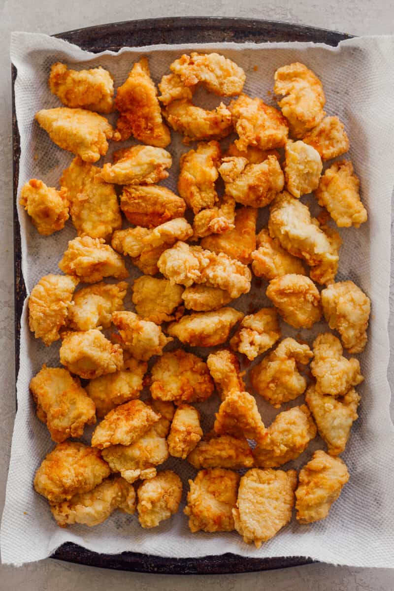 pan of fried chicken bites