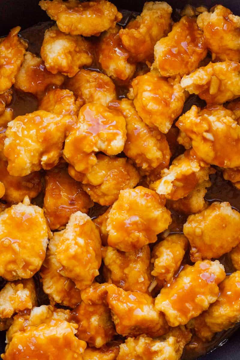 crispy orange chicken pieces