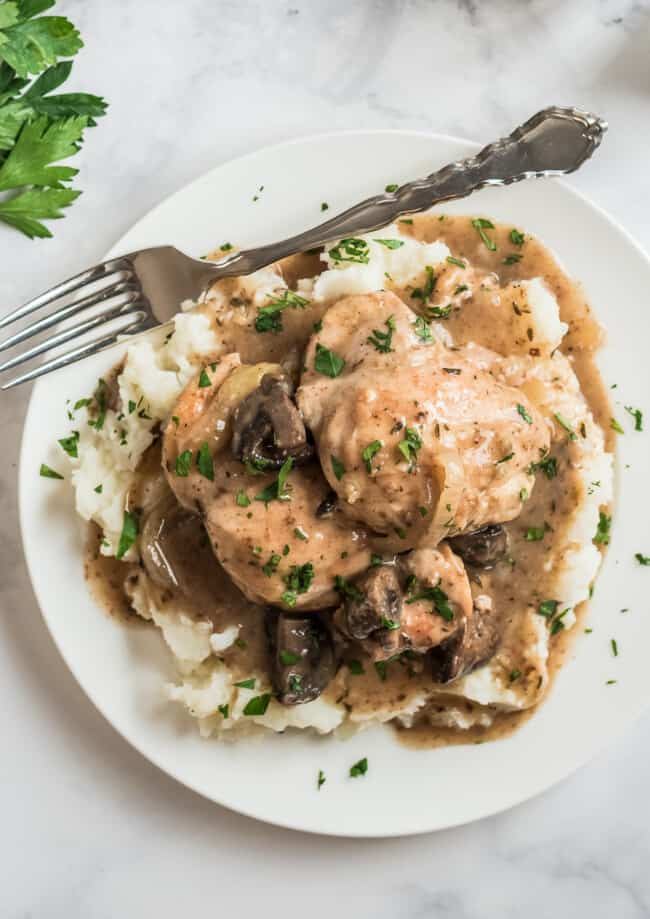crockpot chicken marsala over mashed potatoes
