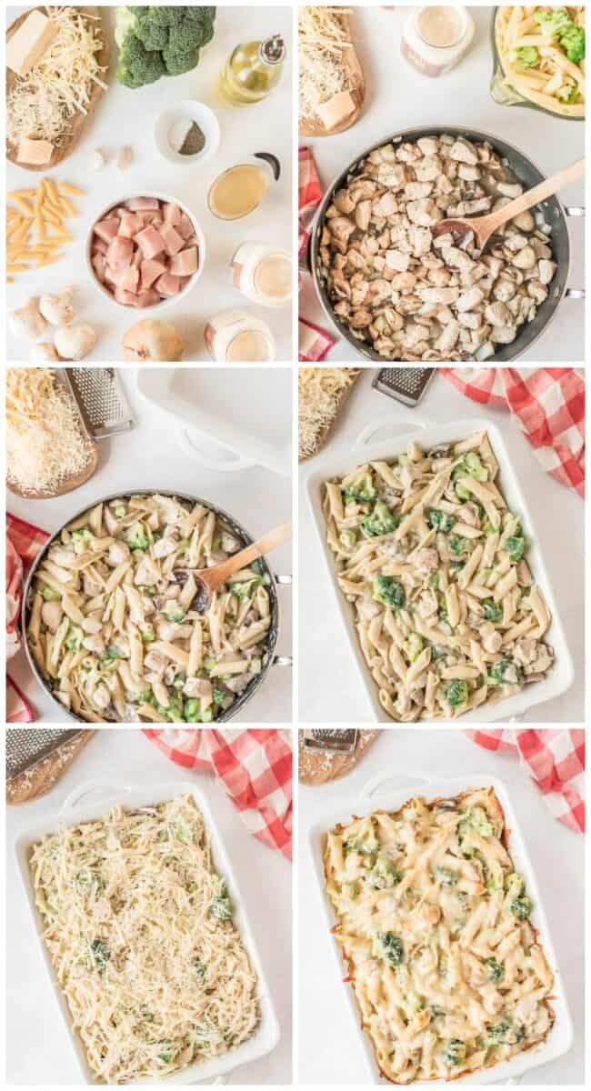 step by step photos of how to make chicken and broccoli pasta bake