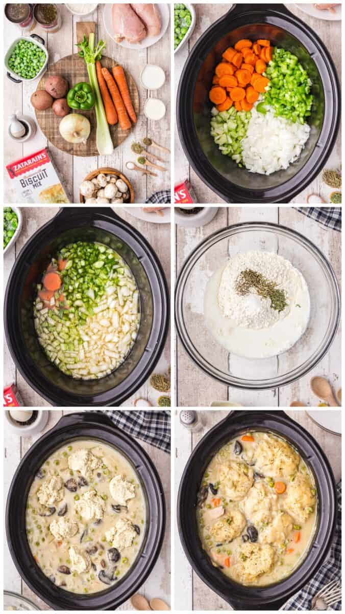 step by step photos of making crockpot chicken and dumplings