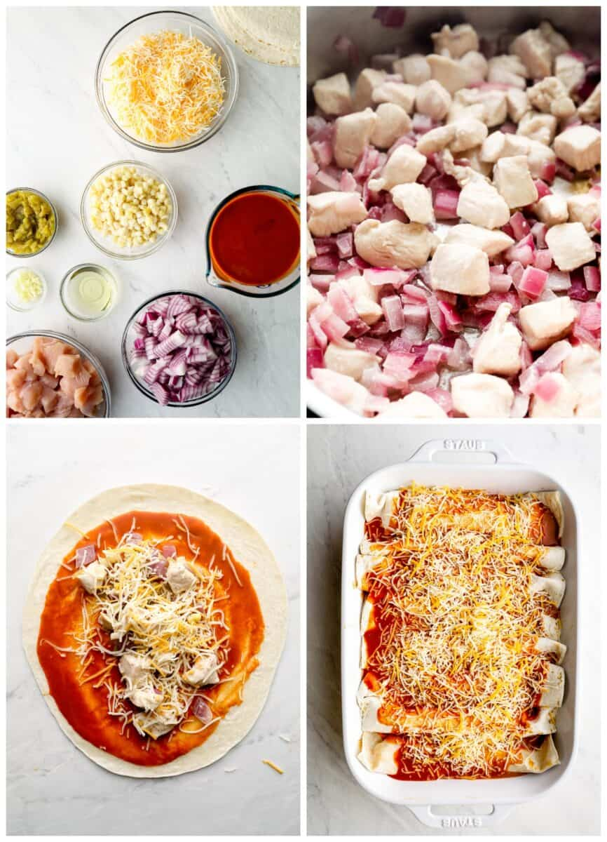 Step by step photos of how to make red chicken enchiladas.