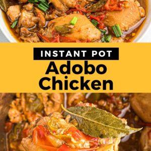 instant pot adobo chicken pinterest collage