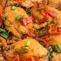 up close image of adobo chicken thighs on platter