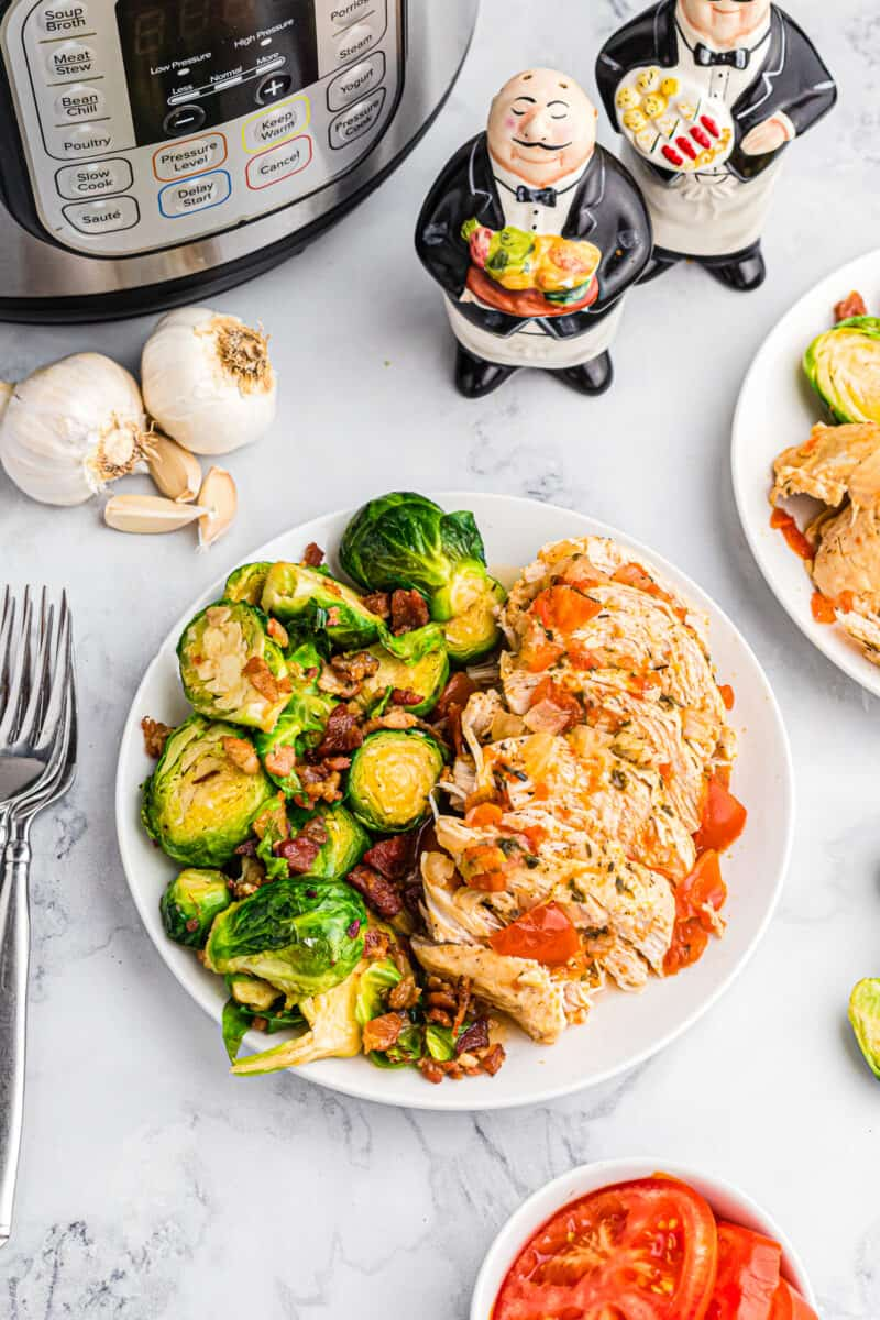 instant pot balsamic chicken with brussels sprouts on plate