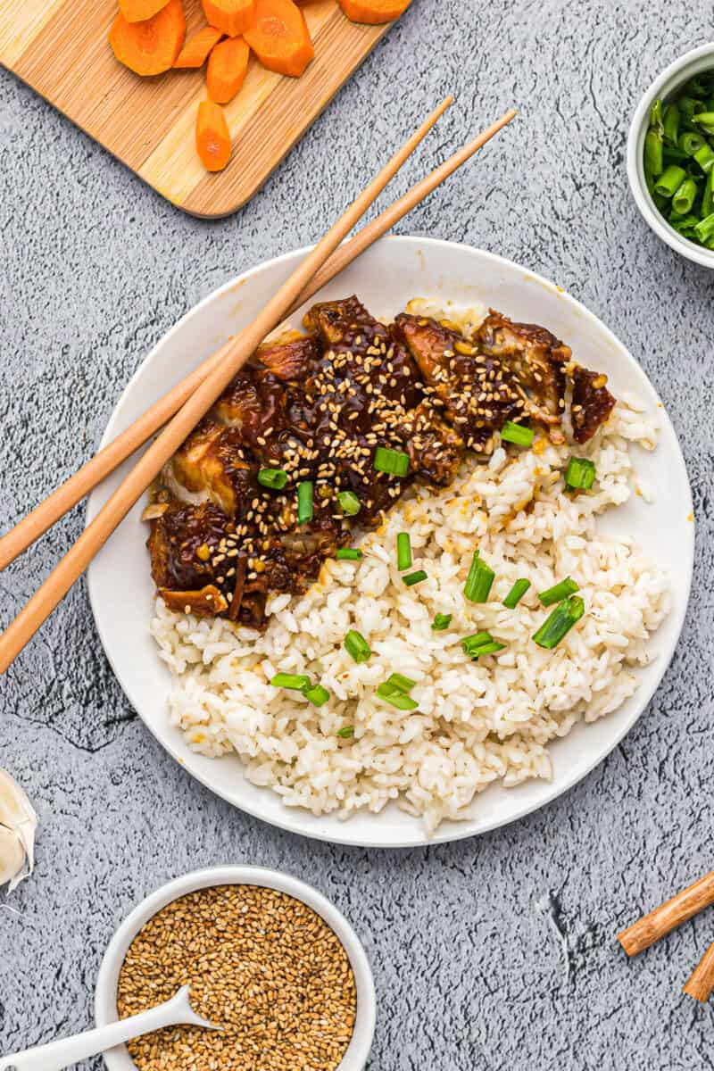 instant pot chicken teriyaki with rice on plate