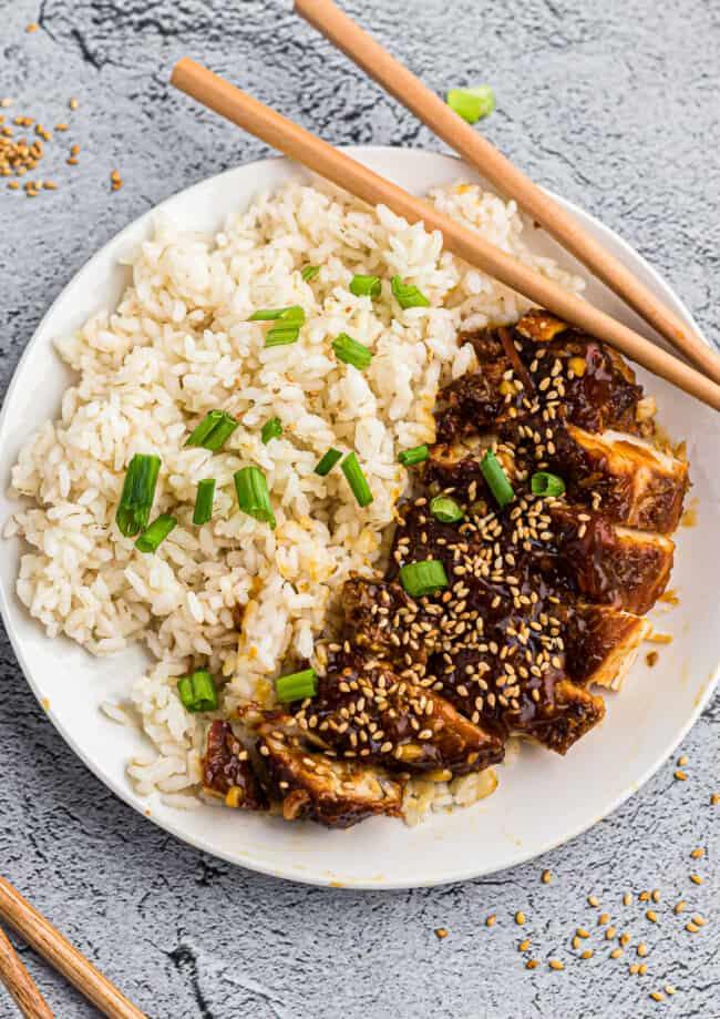 plate with chicken teriyaki