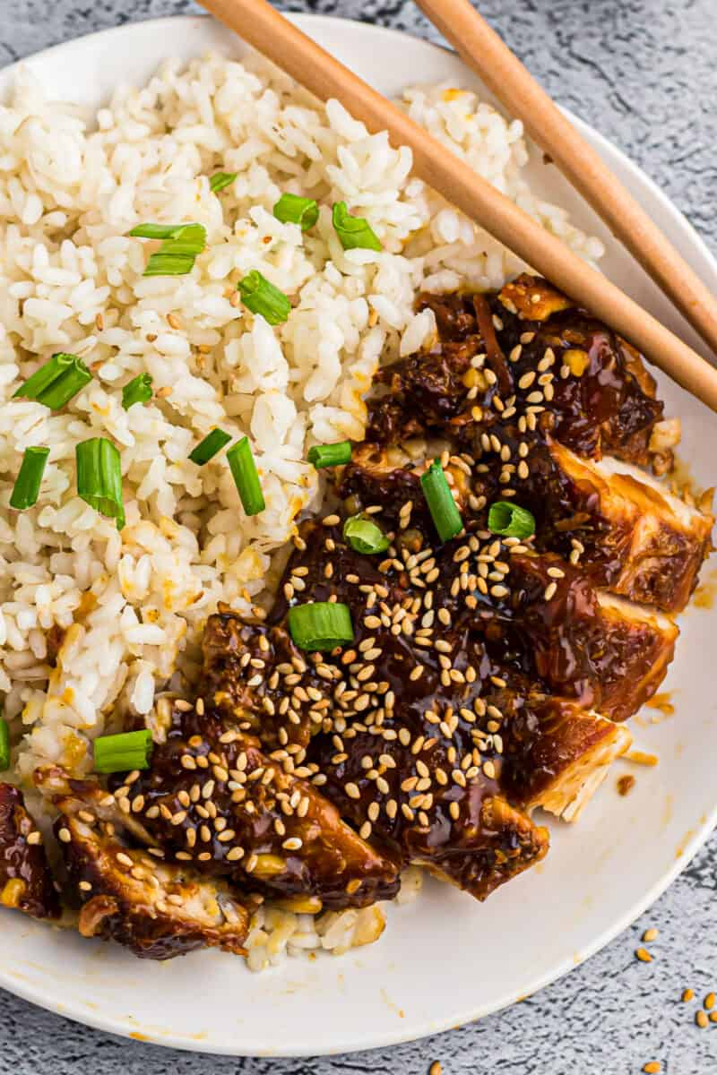 up close image of instant pot chicken teriyaki