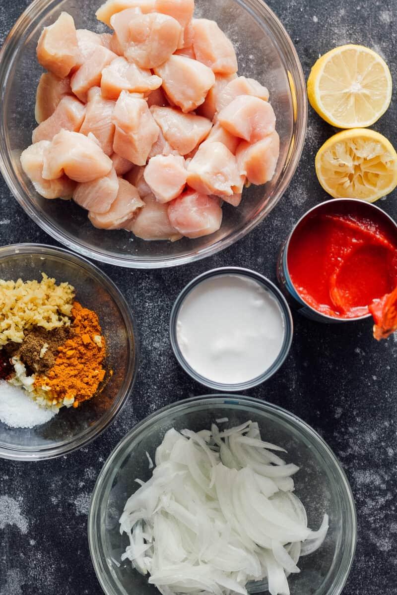 Ingredients for instant pot chicken tikka masala.