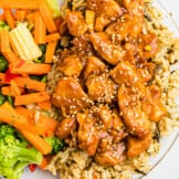 up close image of instant pot orange chicken