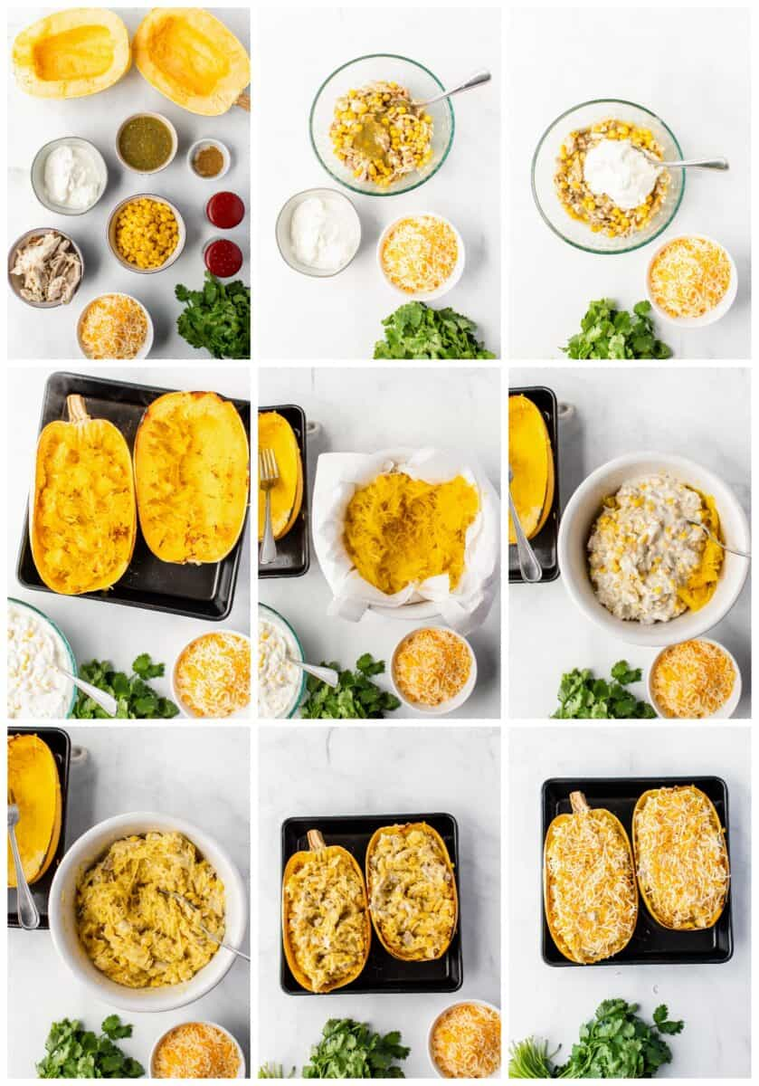 step by step photos of how to make chicken spaghetti squash