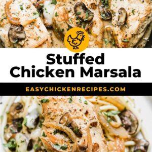 stuffed chicken marsala pinterest collage