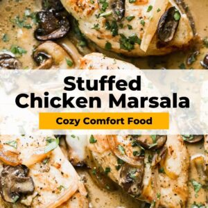 stuffed chicken marsala pinterest collage