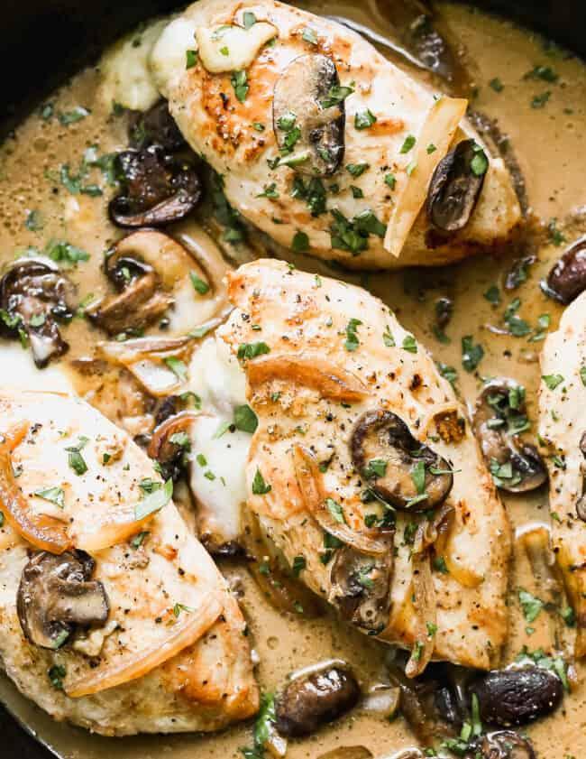 marsala stuffed chicken breasts in skillet