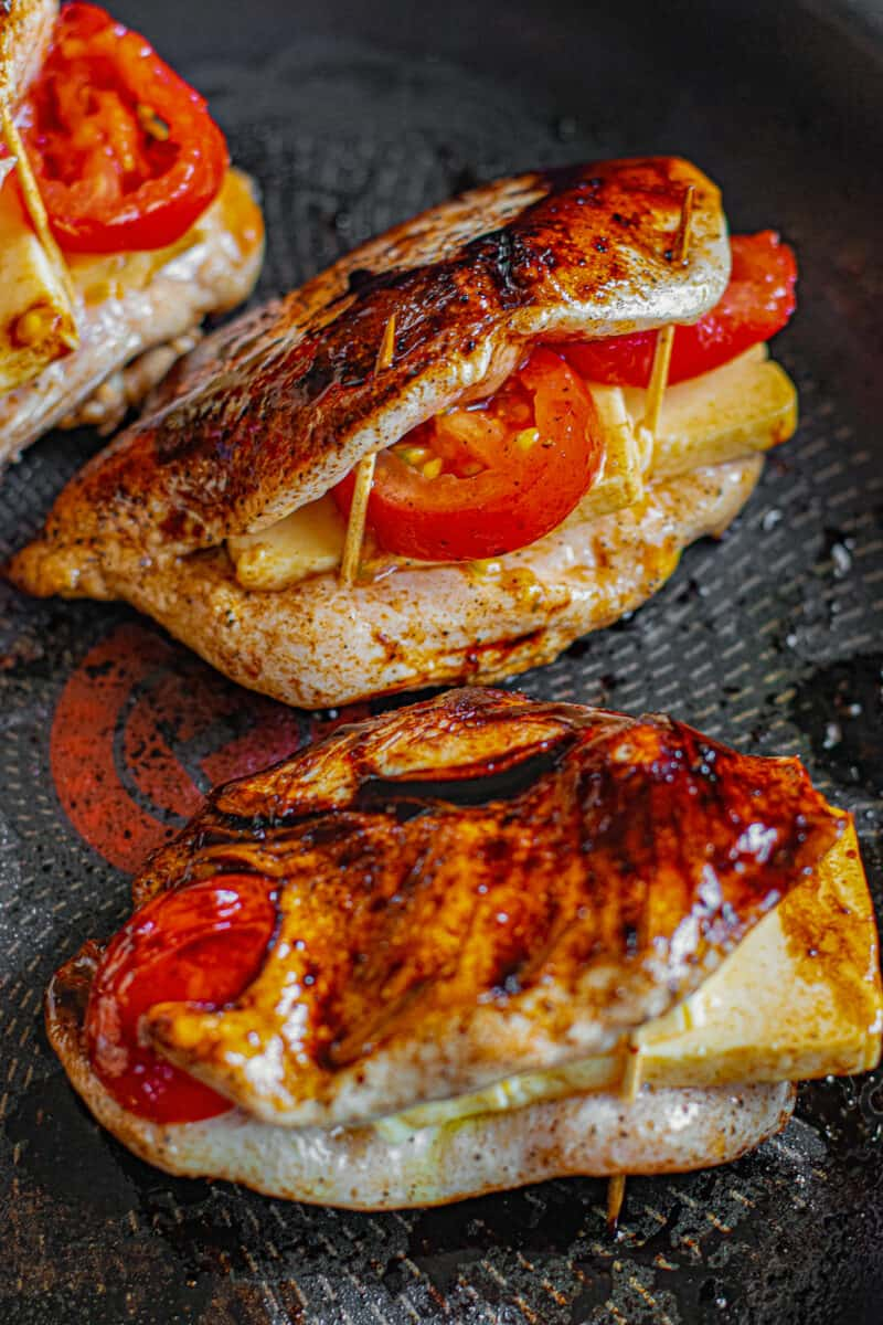 balsamic stuffed chicken before cooking