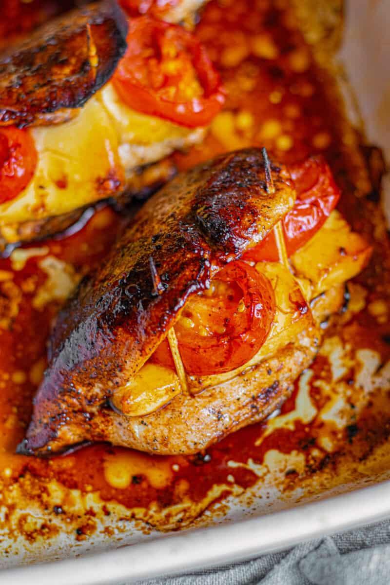 balsamic stuffed chicken in baking dish