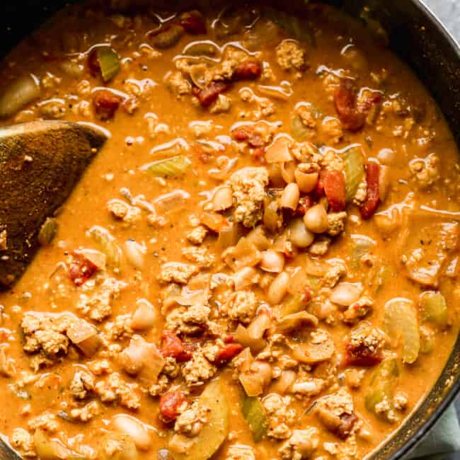 creamy buffalo chicken chili in pot