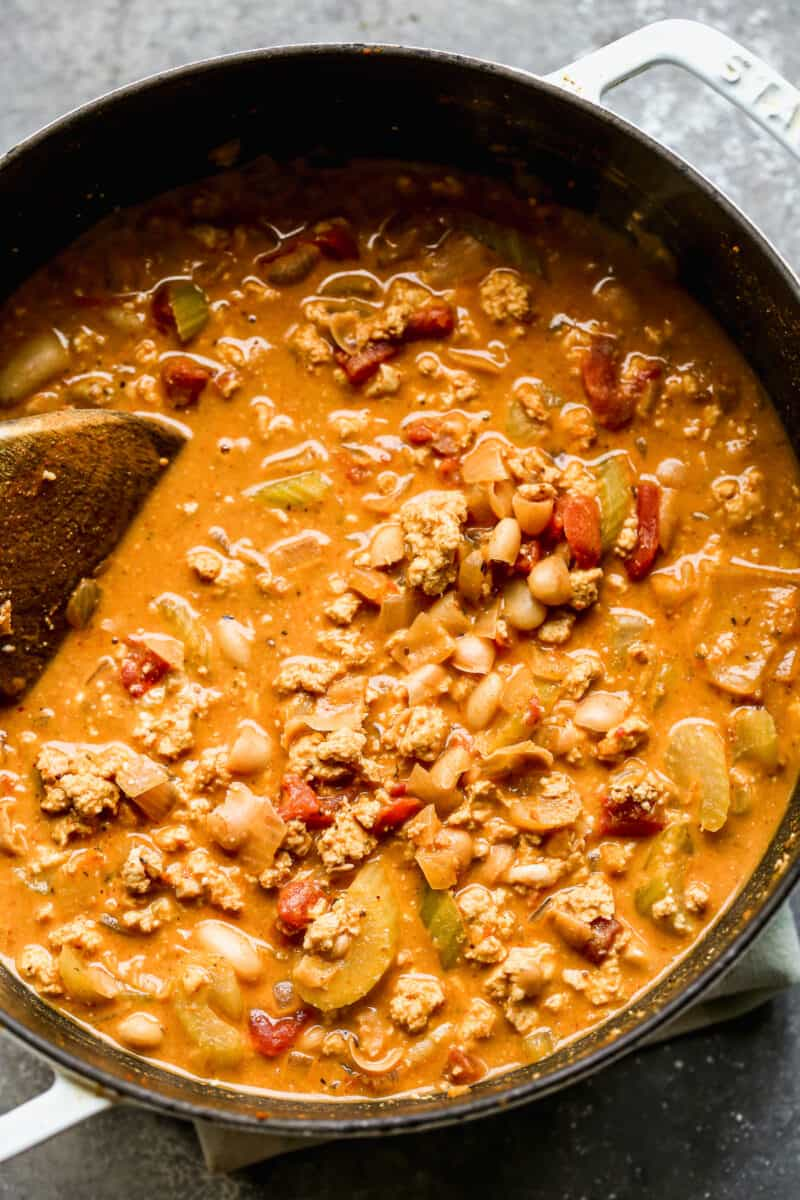 creamy buffalo chicken chili in pot